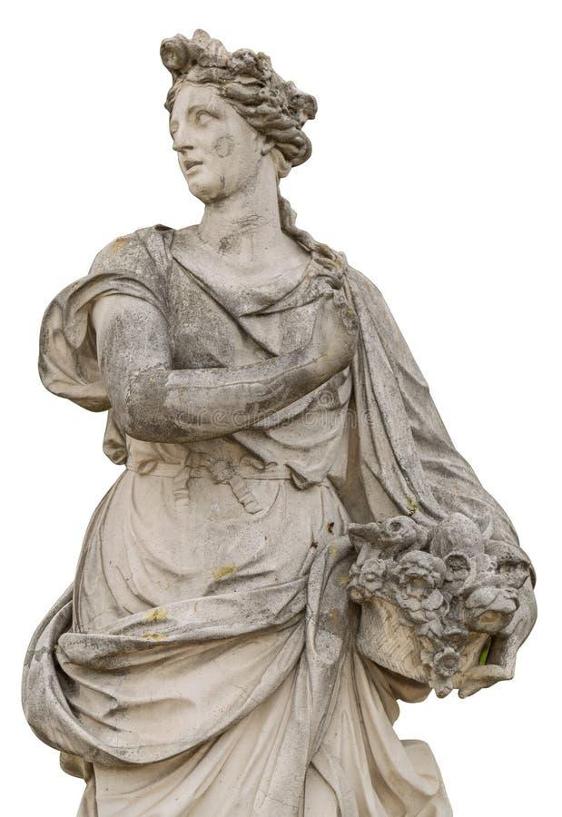 Sculpture antique en femme d'isolement sur le fond blanc photos libres de droits