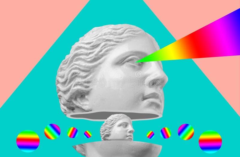 Sculpture antique en t?te de gypse sur un r?tro fond color? de vaporwave Collage d'art contemporain illustration de vecteur