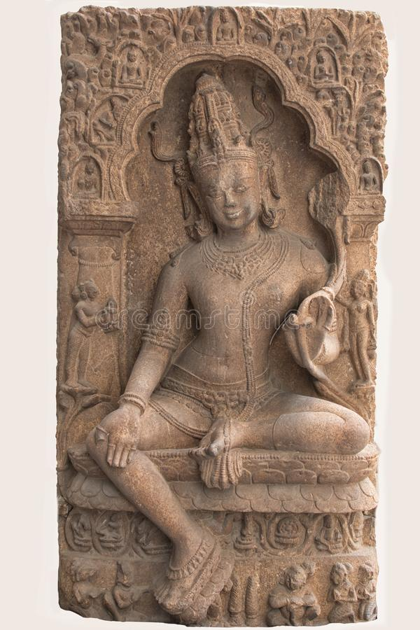 Sculpture archéologique d'Avalokitesvara de la mythologie indienne photographie stock