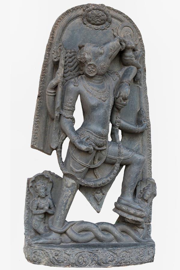 Sculpture archéologique de Varahavatara l'incarnation de verrat de Lord Vishnu de 10ème siècle, basalte, Surajkund, Nalanda, photo libre de droits