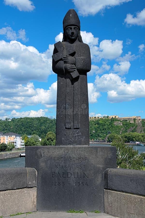 Sculpture of archbishop-elector Baldwin in Koblenz. Koblenz, Sculpture of archbishop-elector Baldwin on the bridge Balduinbrucke on background of the stock photos