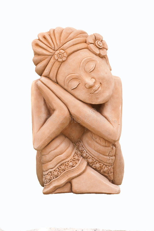 Sculpture Of An Asian Lady Royalty Free Stock Images