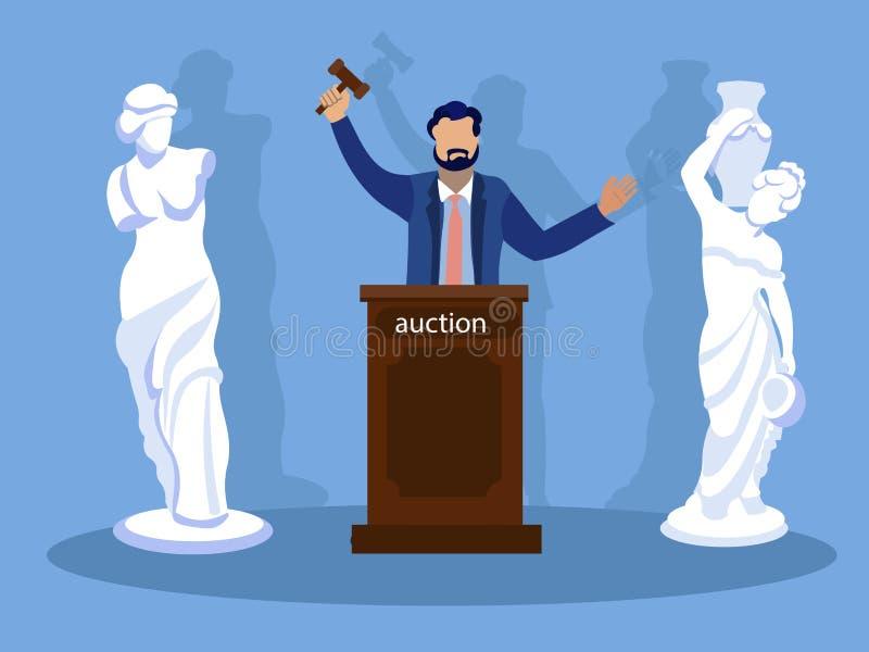 Sculpture Auction, winner. In minimalist style. Cartoon flat vector royalty free stock photo