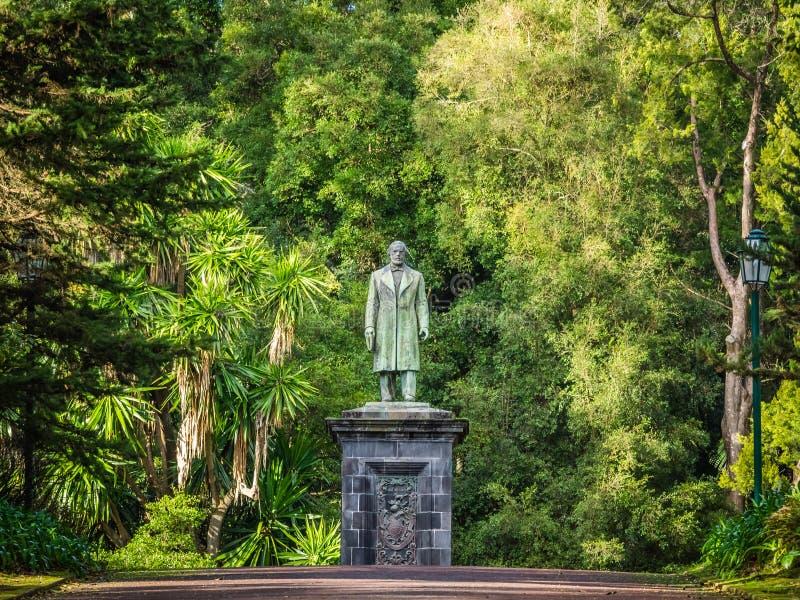Sculpture in the botanical gardens. Man sculpture in theJosé do Canto Botanical Garden in Ponta Delgada, the capital of Sao Miguel island, Azores, Portugal royalty free stock photos