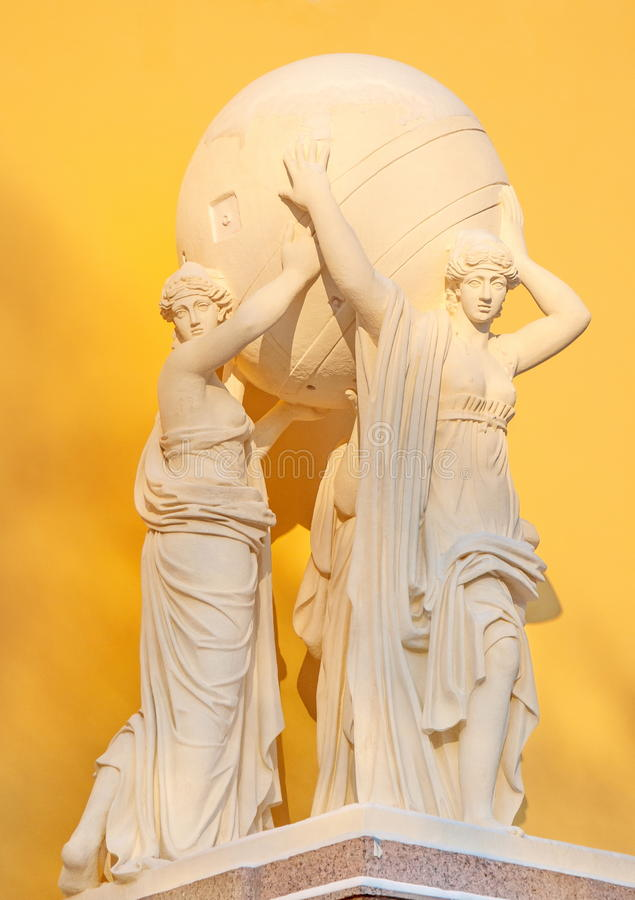 Sculpture of the Caryatids. Ancient Sculpture Caryatids that hold globe royalty free stock images
