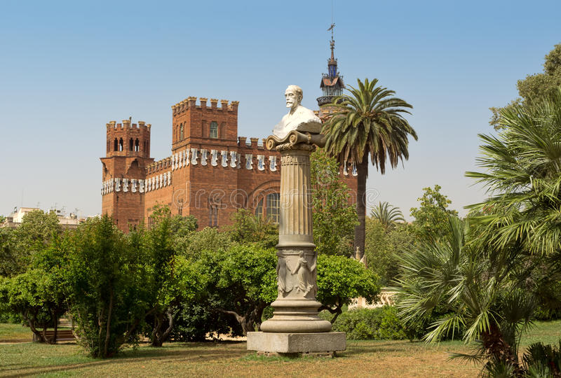 Sculpture and Castel dels Tres Dragons. Barcelona, Catalonia, Spain. royalty free stock photos