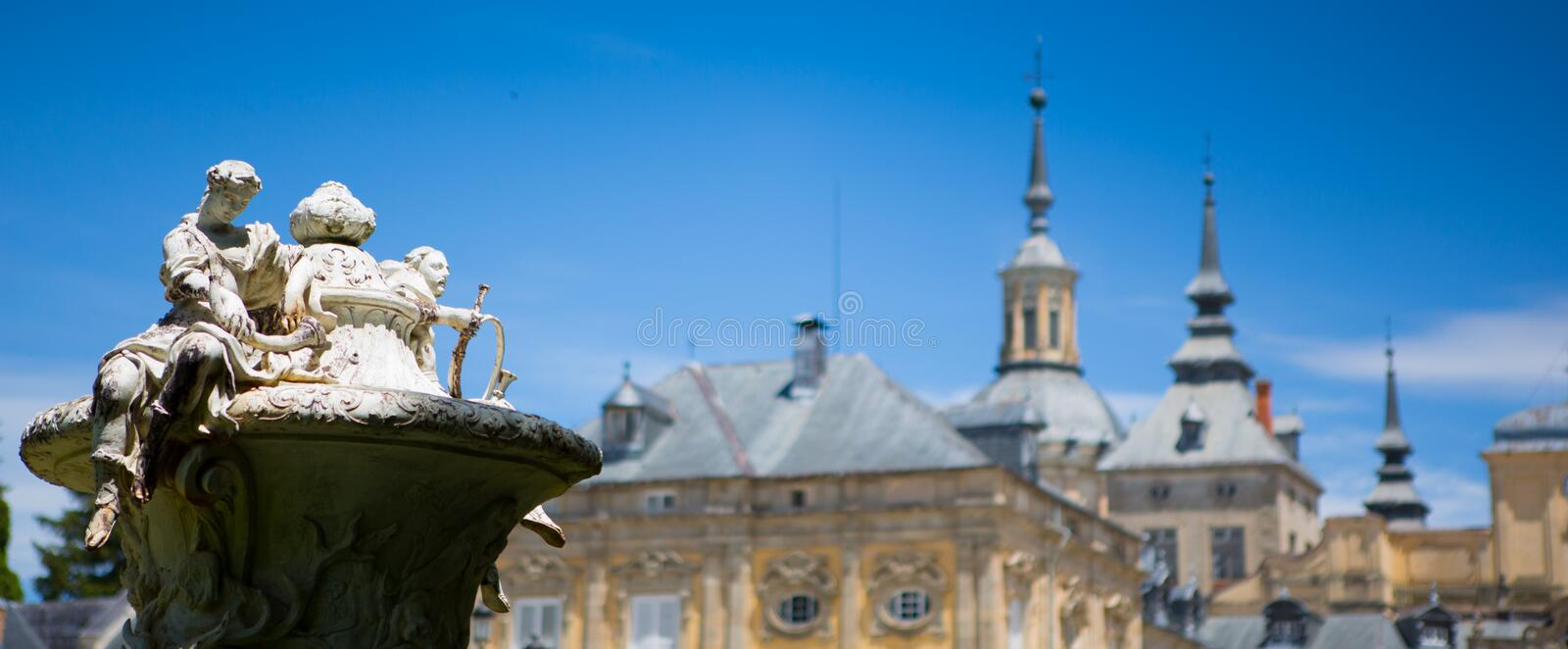 Sculpture on the castle view. San Ildefonso, La granja. Spain. royalty free stock photos