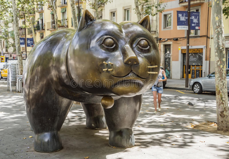 Sculpture of cat in the Barcelona. Barcelona, Spain - July 4, 2016: Sculpture El Gato de Botero of cat in the El Raval district of Barcelona royalty free stock image