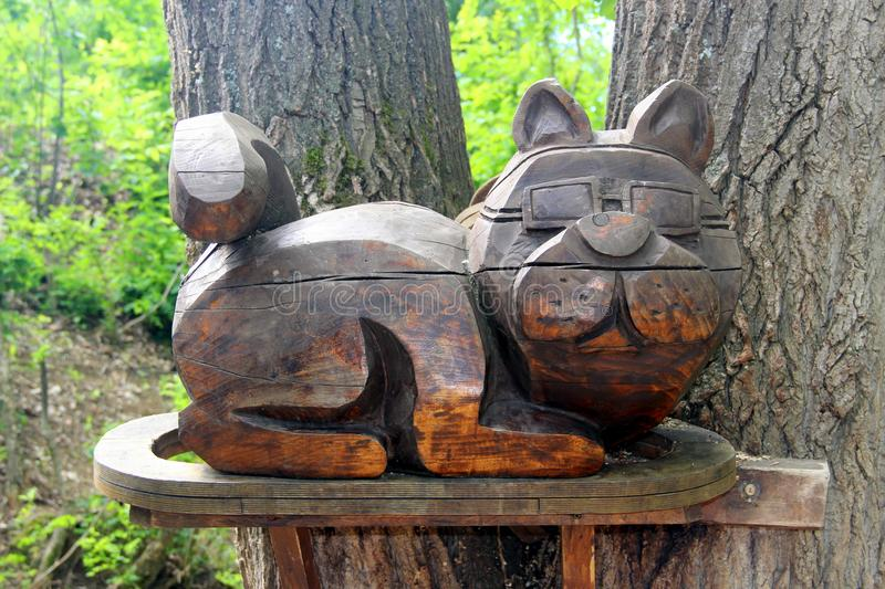 Wooden cat Russia stock images