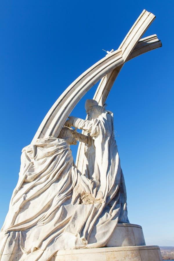Sculpture in the catholic Basilica`s garden, Esztergom, Hungary stock photos