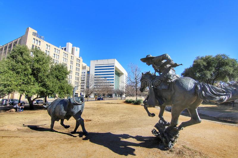 Sculpture. The Cattle Drive Sculpture at Pioneer Plaza with blue sky on a sunny day. The 49 bronze steers and 3 trail riders sculpture were created by artist stock photography
