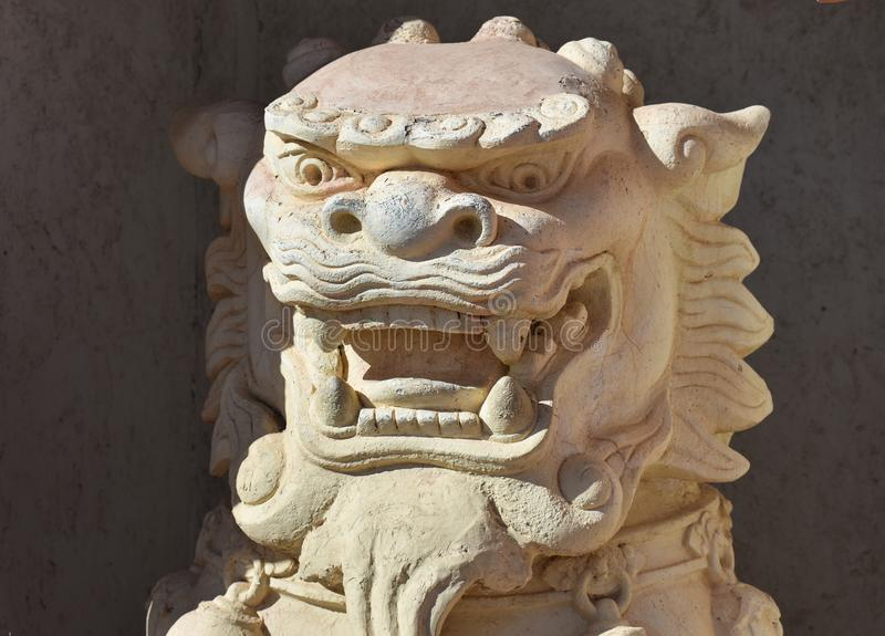 Chinese guardian lion statue stock image