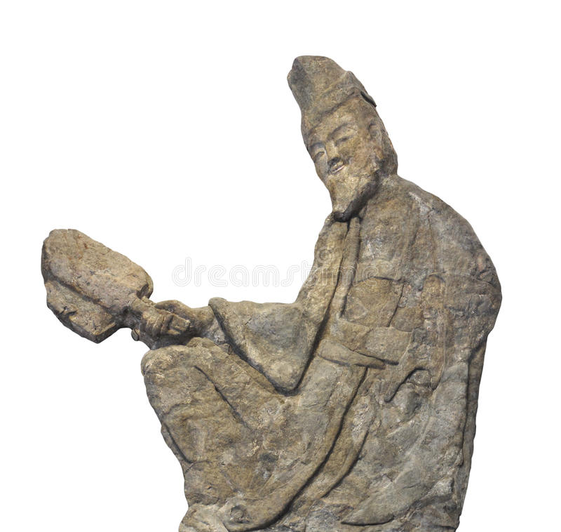 Sculpture chinoise antique en soulagement d'isolement photo stock