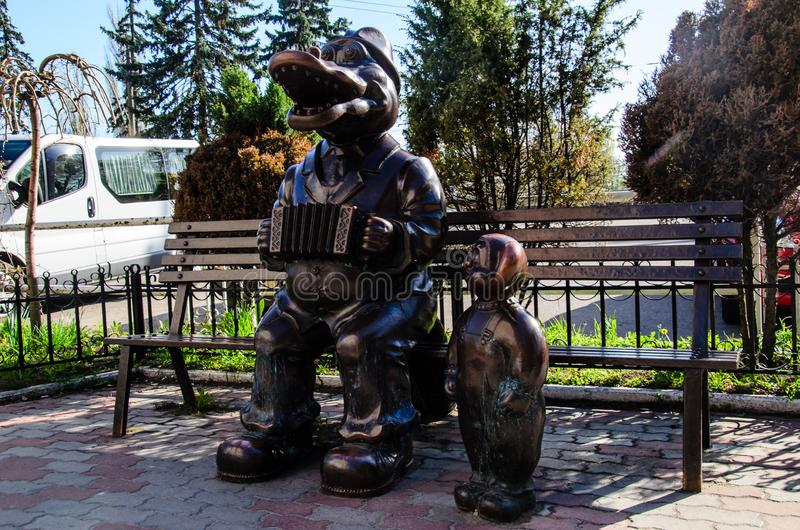 Sculpture of the crocodile Gena and Cheburashka stock photos