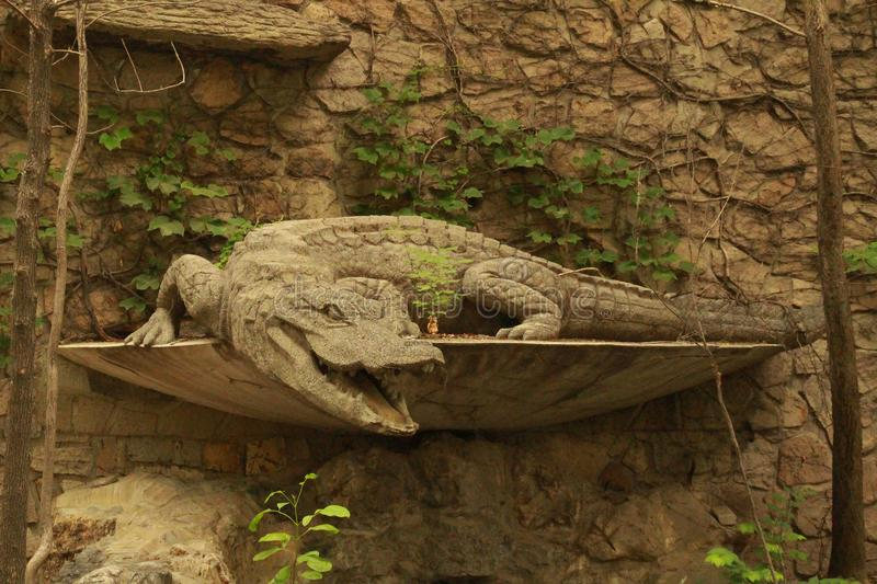 Sculpture of crocodile. royalty free stock image