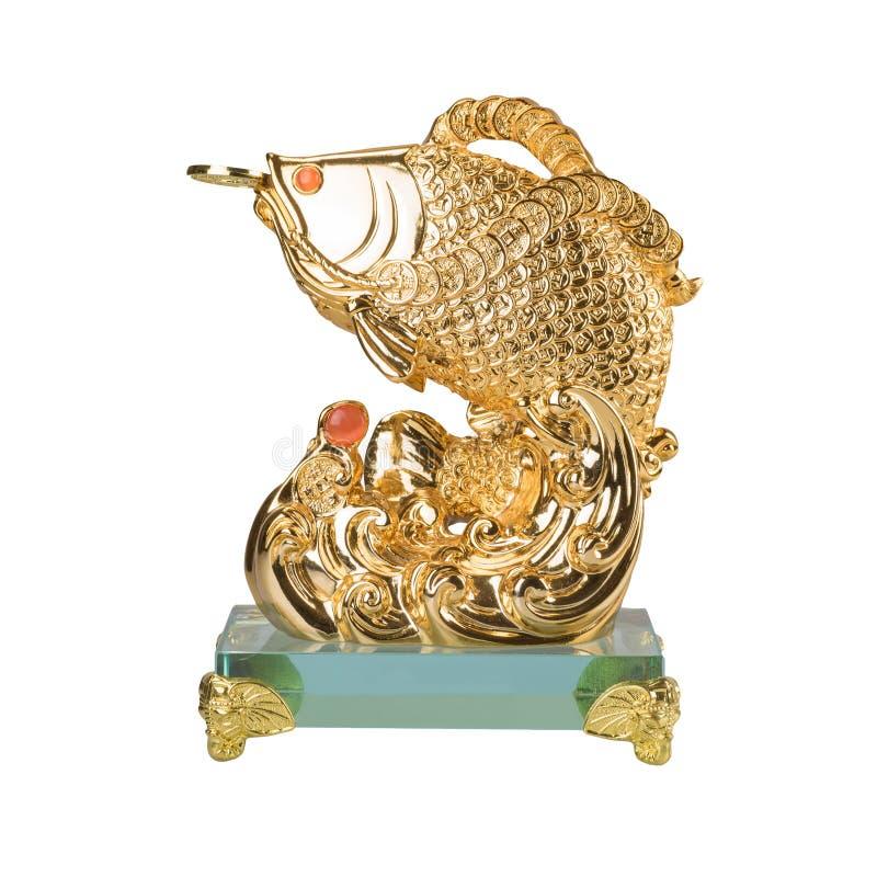 Sculpture d'or en poissons d'isolement sur le fond blanc illustration libre de droits