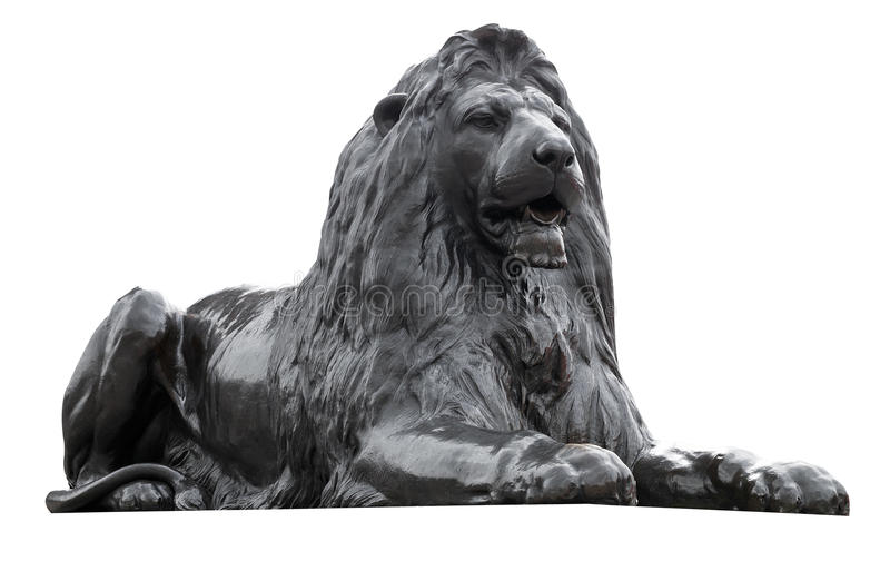Sculpture d'isolement d'un lion carré de Trafalgar image libre de droits