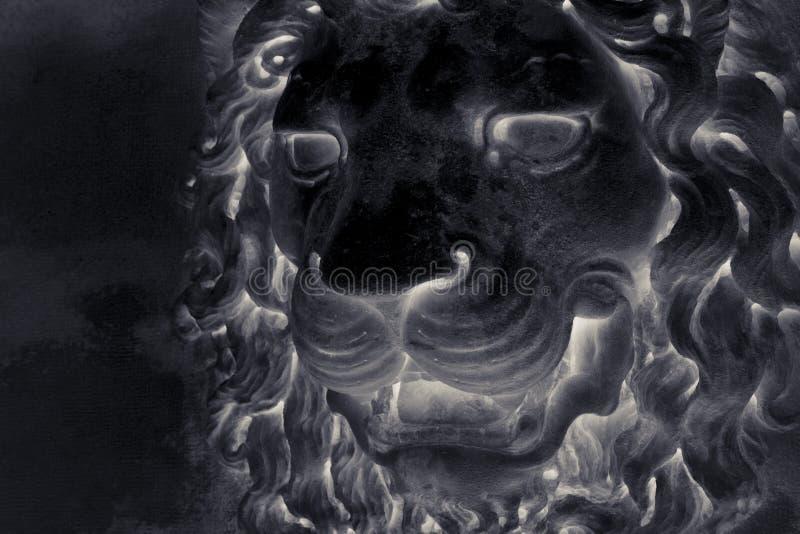 Sculpture d'une t?te m?di?vale de lion de l'Italie en pierre image stock