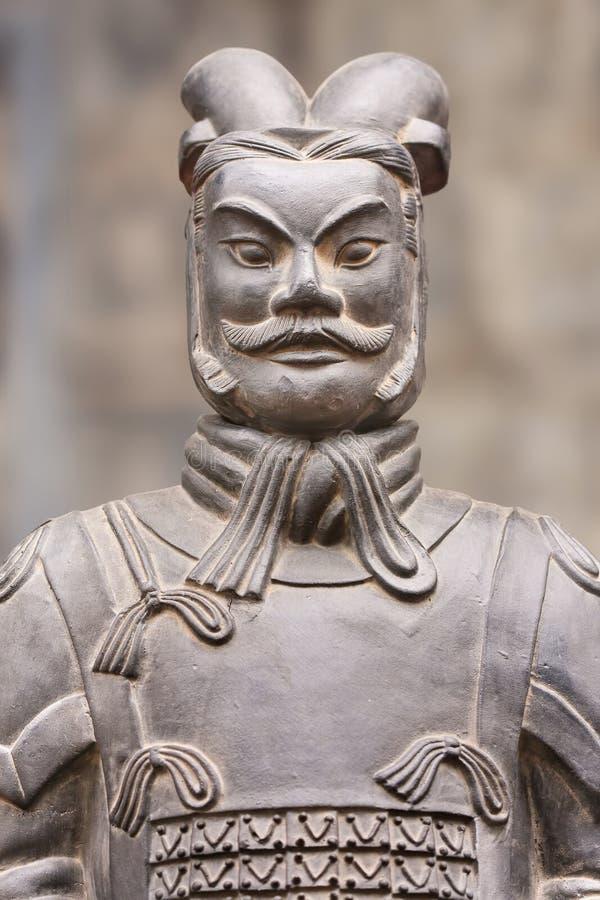 Sculpture de guerrier héroïque de terre cuite, Xian, Chine image libre de droits