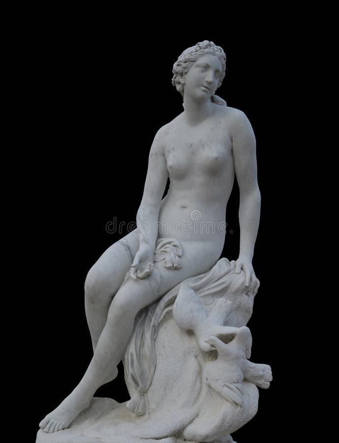 Sculpture de marbre médiévale de l'Aphrodite, déesse de l'amour, Sanssou images stock
