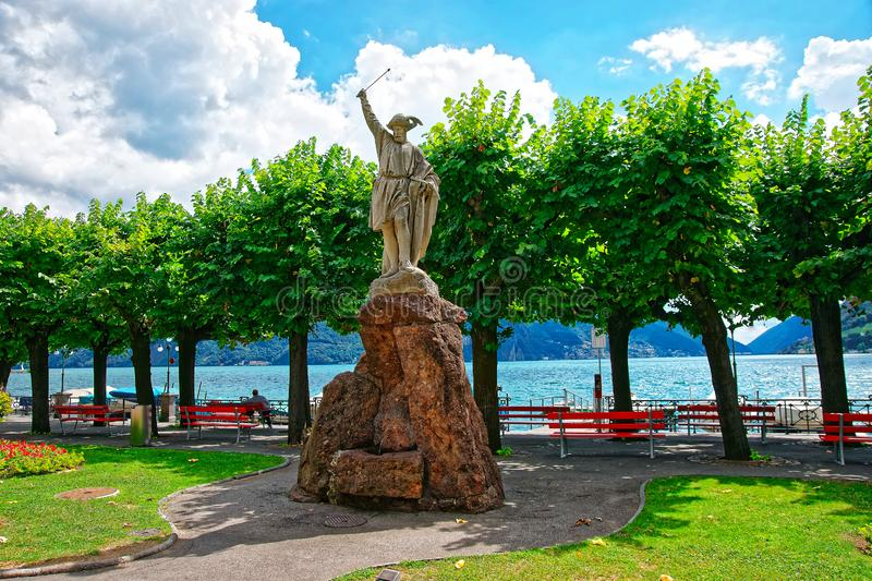 Sculpture de William Tell à la promenade à Lugano Tessin Suisse image stock