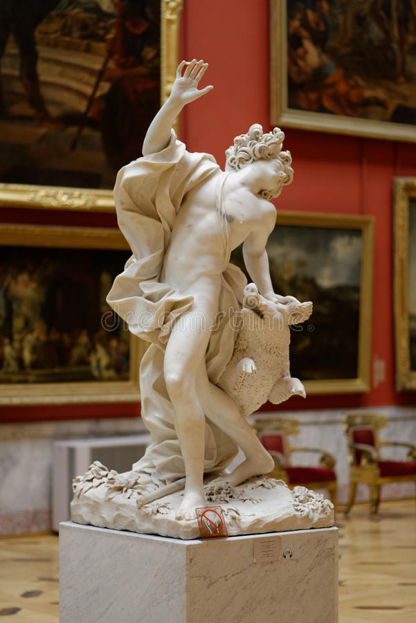 Sculpture Death Of Adonis in the State Hermitage Museum. St. Petersburg, Russia - December 10, 2015: Sculpture of Giuseppe Mazzuola Death Of Adonis in the State