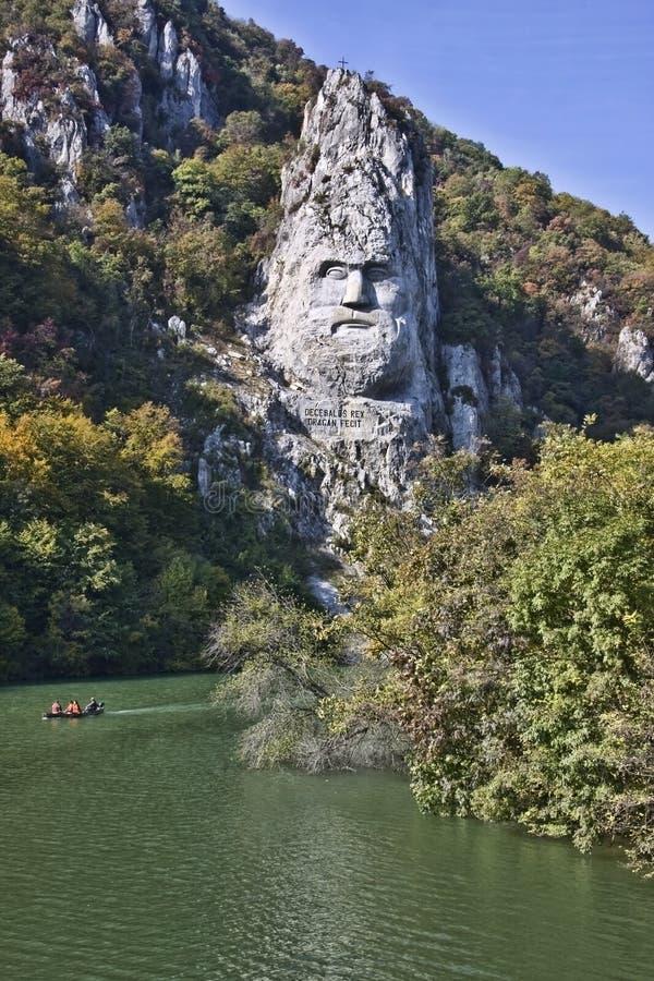 Sculpture Of Decebal On The Danube Stock Photo