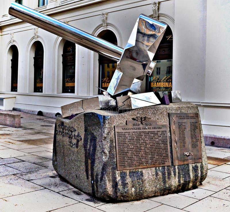 """The monument """"Smash Nazism"""" in Oslo, Noraway by Bjorn Melbye Gulliksen in the middle of the day - Spring 2017. The sculpture is dedicated to the royalty free stock photo"""