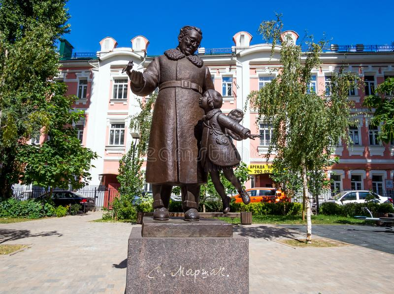 Sculpture dedicated to S.Ya. Marshak and installed in the city of Voronezh. Voronezh, Russia - August 08, 2018: Sculpture dedicated to S.Ya. Marshak and stock photography