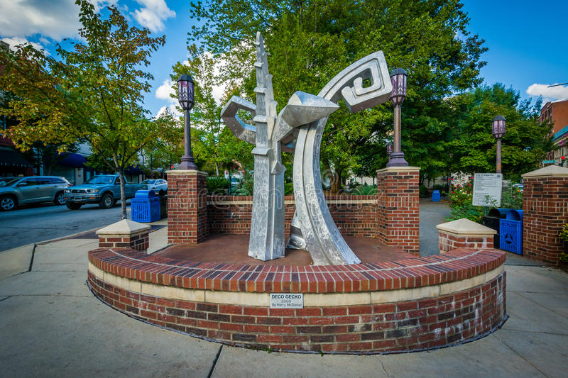 Sculpture in downtown Asheville, North Carolina. stock image