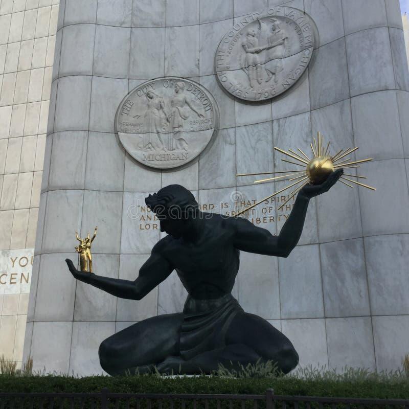 Sculpture du centre de Detroit photographie stock