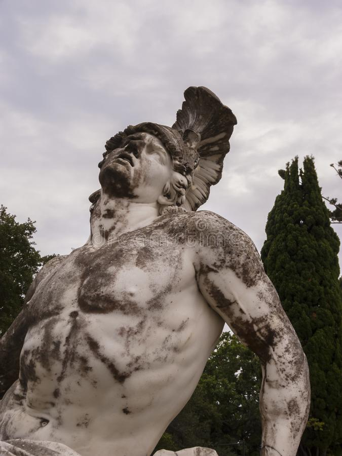 Sculpture of the dying achilles in achilleion palace corfu stock photography
