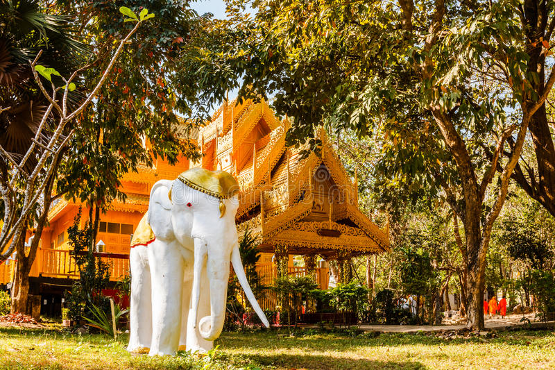 Sculpture of elephant and burmese style viharn. In lampang, thailand royalty free stock photos