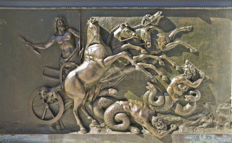 Sculpture en bronze au palais d'Achilleion, Corfou images stock