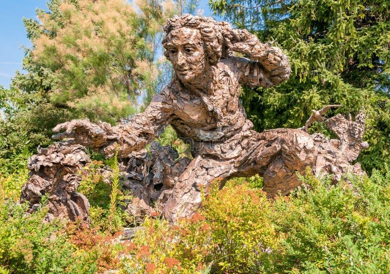 Sculpture en bronze de Carolus Linnaeus dans le jardin botanique de Chicago, Etats-Unis photos stock