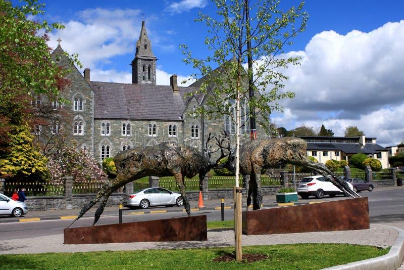 Sculpture en cerfs communs rouges, Killarney, comté Kerry, Irlande images libres de droits