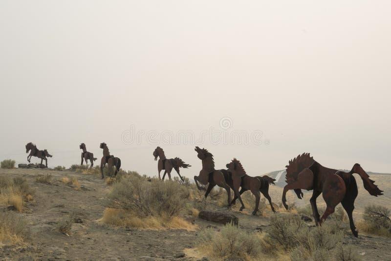 Sculpture en cheval sauvage près d'avantageux, Washington, USA image stock