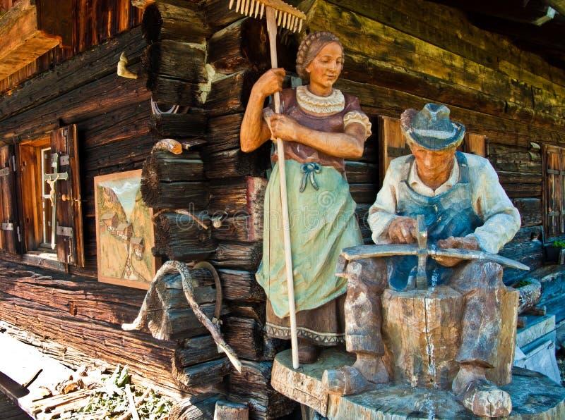 Sculpture en folklore, Alpe di Siusi, Italie photos libres de droits