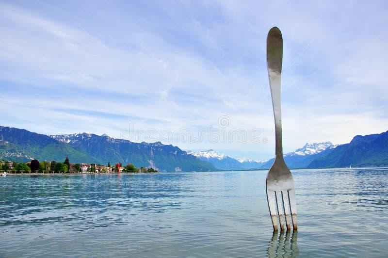Sculpture en fourchette de Vevey images stock