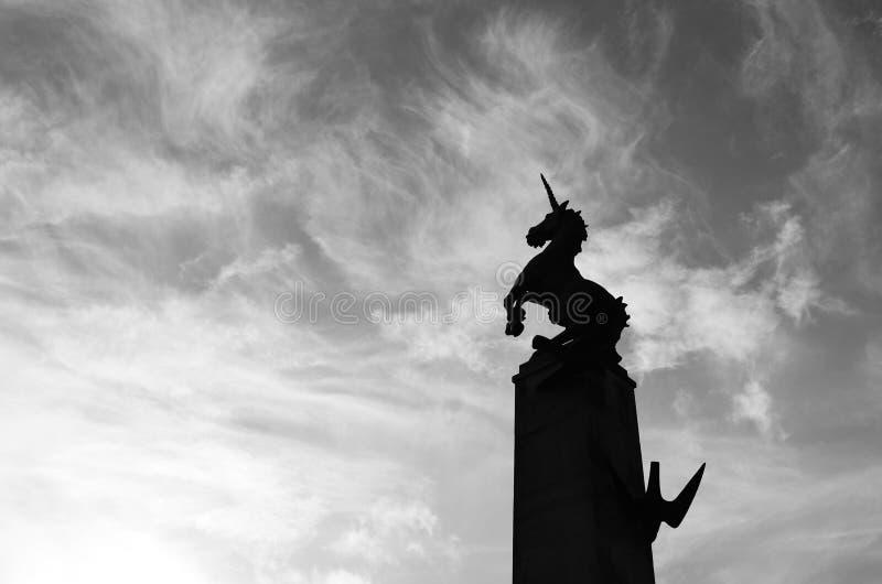 Sculpture en licorne, place de faucon Inverness, Ecosse image libre de droits
