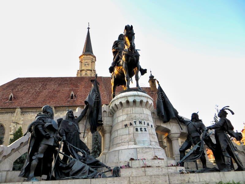 Sculpture en Mathias Rex à Cluj-Napoca, Roumanie image stock