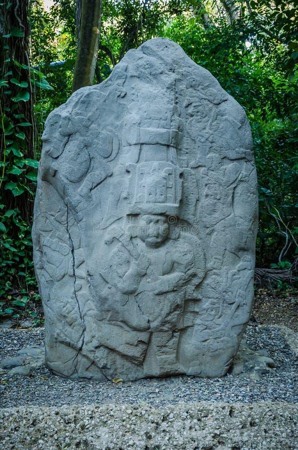 Sculpture en Olmec au parc de Venta de La photographie stock libre de droits