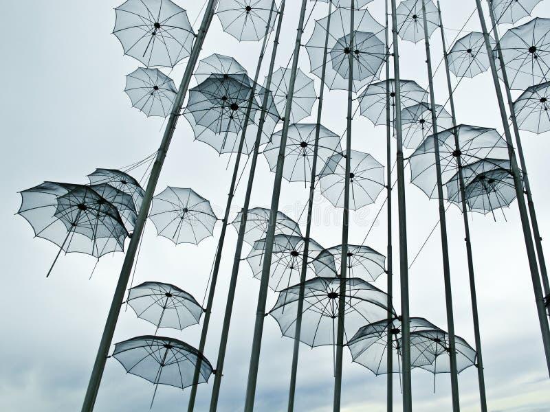 Sculpture en parapluies de Salonique images libres de droits