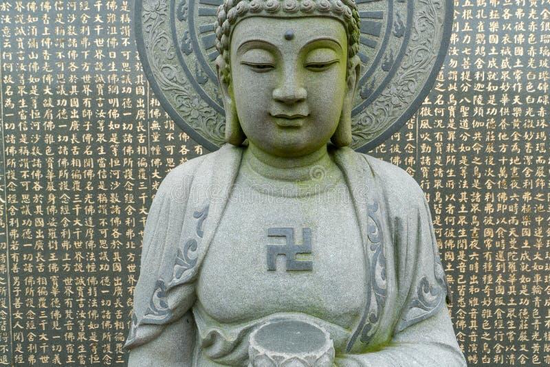 Sculpture en Relegious avec le svastika sur l'île de Kinmen, Taïwan images libres de droits