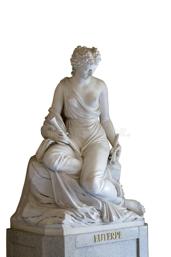 Sculpture of the Euterpe muse. In Greek mythology, Euterpe was the one of the Muses, presiding over music. In late Classical times, she was named muse of lyric stock photo