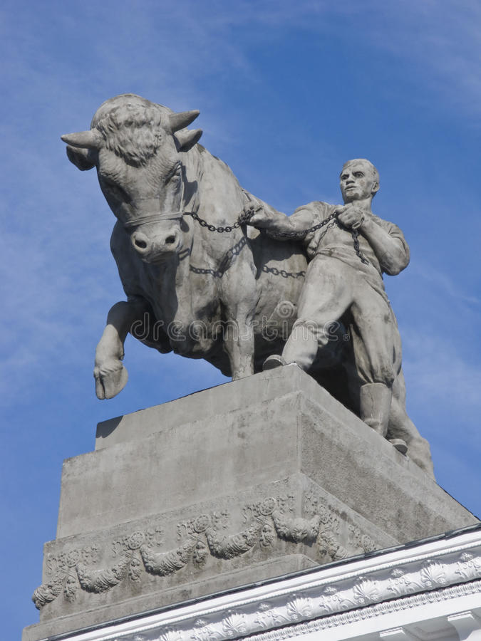 Download Sculpture Of Farmer With A Bull Stock Image - Image: 10413743