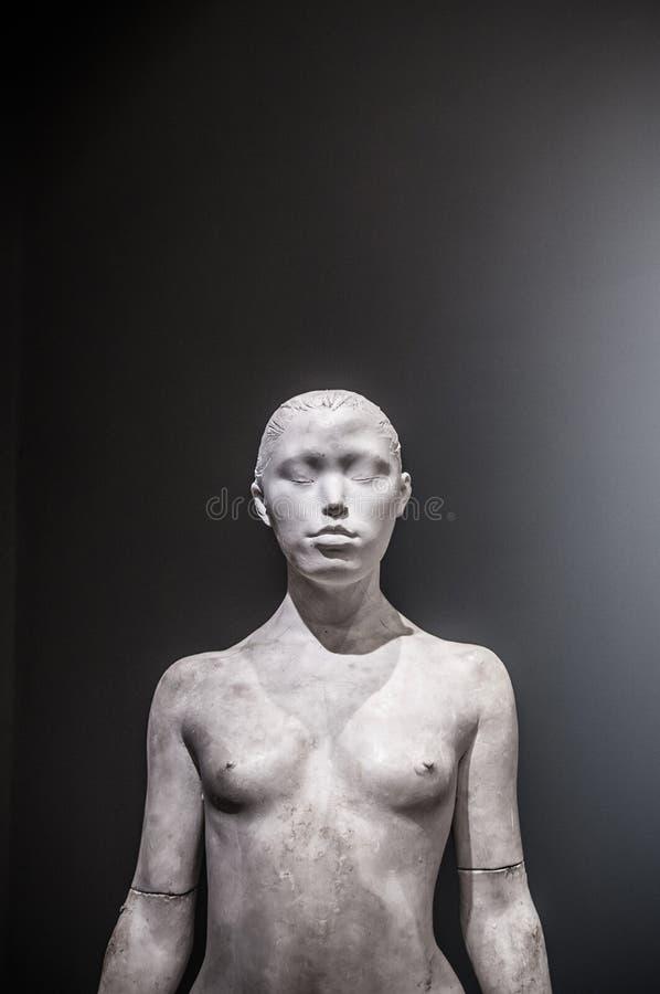 Sculpture femelle en plâtre sur le fond foncé photographie stock
