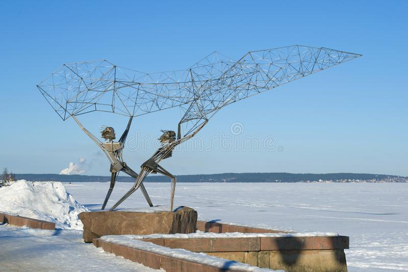 Sculpture `Fishermen` on the embankment of Onega lake. Petrozavodsk, Karelia stock images