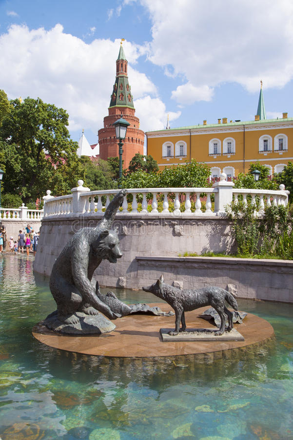 Sculpture in a fountain on Manezh Square, Moscow stock images