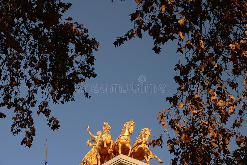 Ciutadella Park. The 4 golden horses royalty free stock images
